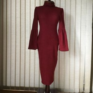 Aakaa Bodycon Full Length Maroon Dress